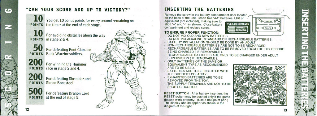 "TIGER ELECTRONICS :: ""NINJA TURTLES: THE NEXT MUTATION"" ELECTRONIC LCD GAME ..INSTRUCTION MANUAL  pgs.12,13 (( 1998 )) by tOkKa"