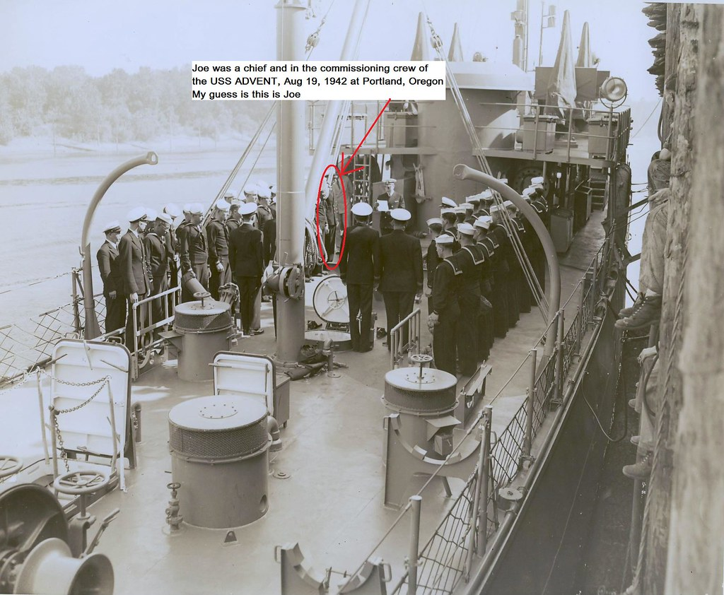 The USS Advent (AM-83) was a minesweeper  My father-in-law