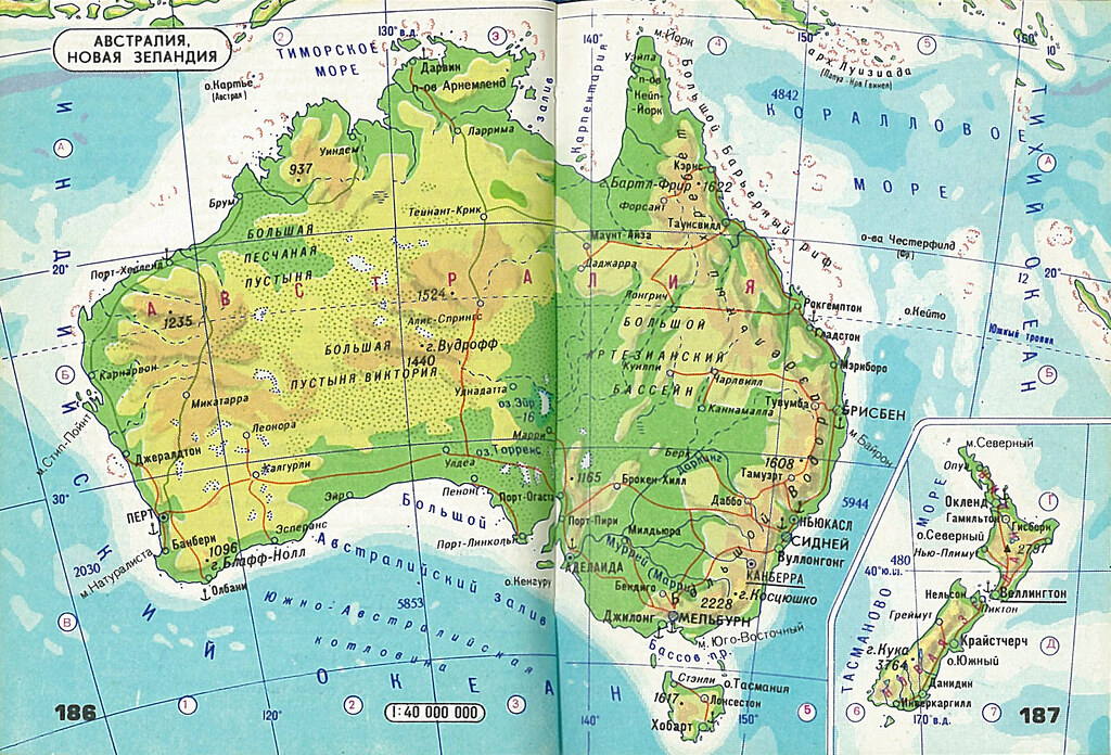Map Of Australia Nz.Atlas Mira 186 187 Australia Nz Physical Map Of Australia Flickr