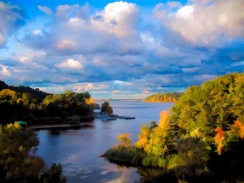 bridge color clouds outdoor