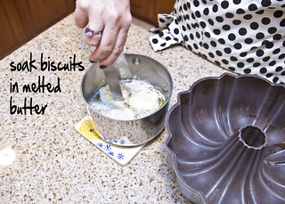 soak the biscuits in butter | by The Spohrs Are Multiplying...