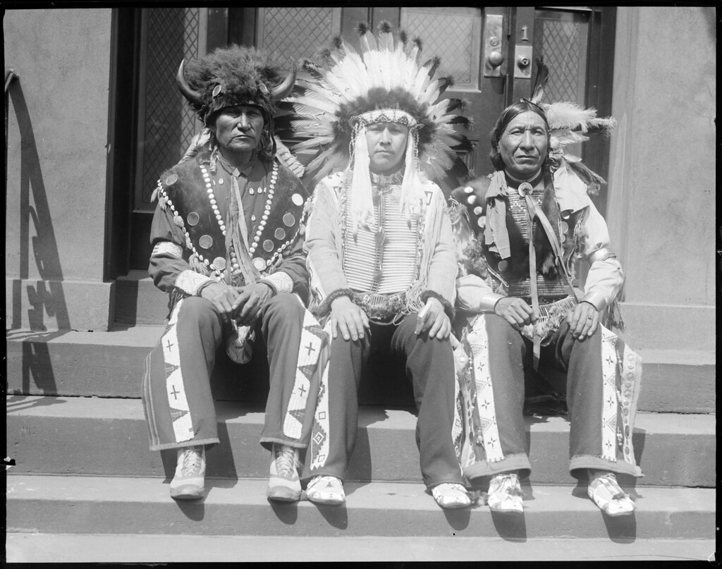 Three Sioux Indians - Left to Right - Sitting Bull, 68 yrs