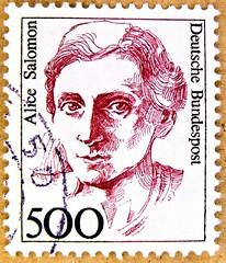 *March, 8th* International Women's Day (IWD) great stamp Germany 500 pf. Alice Salomon 1872-1948 (pioneer social reformer & social work; Sozialreformerin, deutsche Frauenbewegung) postage stamps poste-timbres Allemagne sellos Alemanha selos Briefmarken