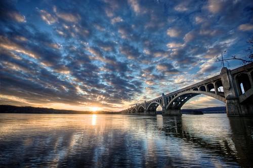 bridge sunset day cloudy hdr susquehanna susquehannariver columbiapa wrightsvillepa