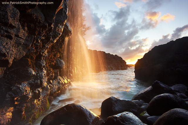 Golden Falls - Queen's Bath, Kauai, Hawaii