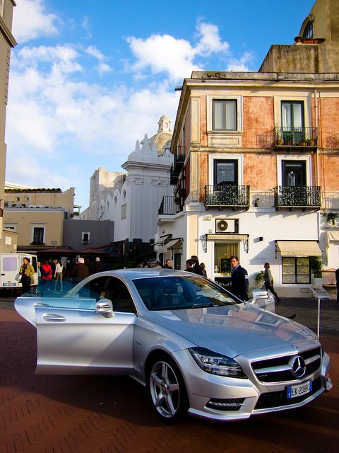 Mercedes displayed at La Piazzetta, Capri