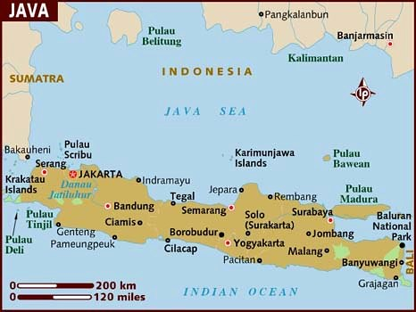 Map of Java, 2011 | The Indonesian island of Java, showing B ...