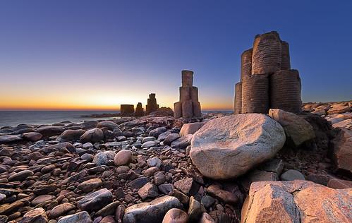 sunset seascape skåne rocks sweden stones dagshög