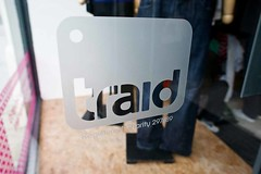 Frosted Vinyl graphic reverse cut on glass