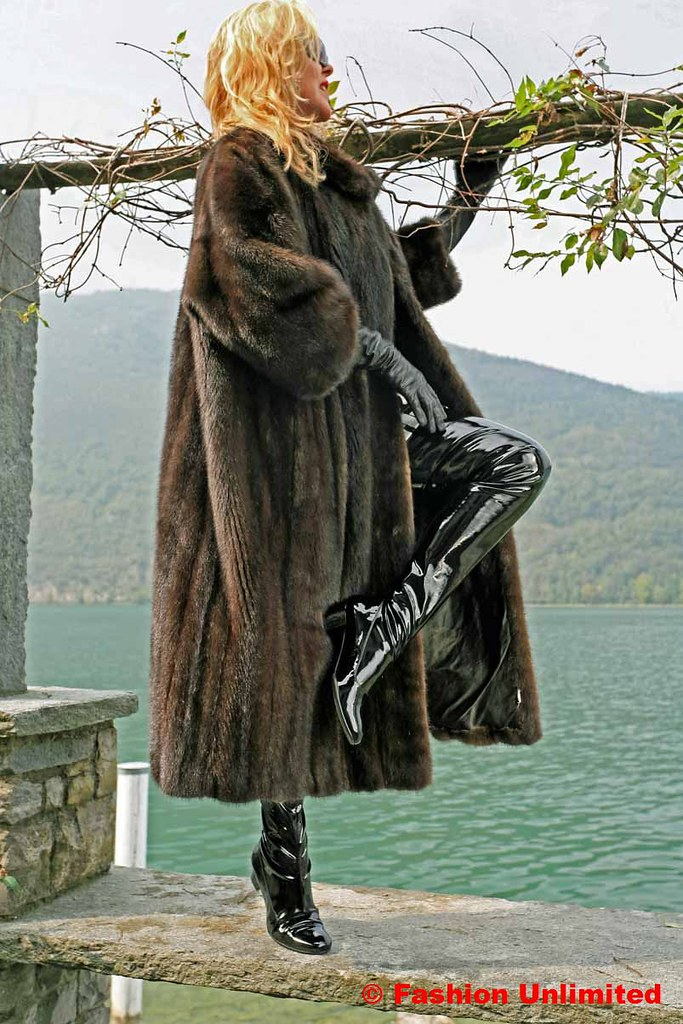 Fur Coat  Leather Gloves And Crotch Boots
