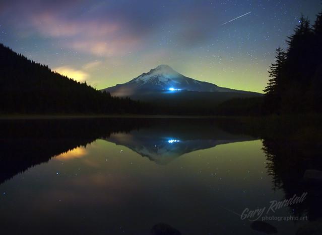 Aurora Behind Mount Hood
