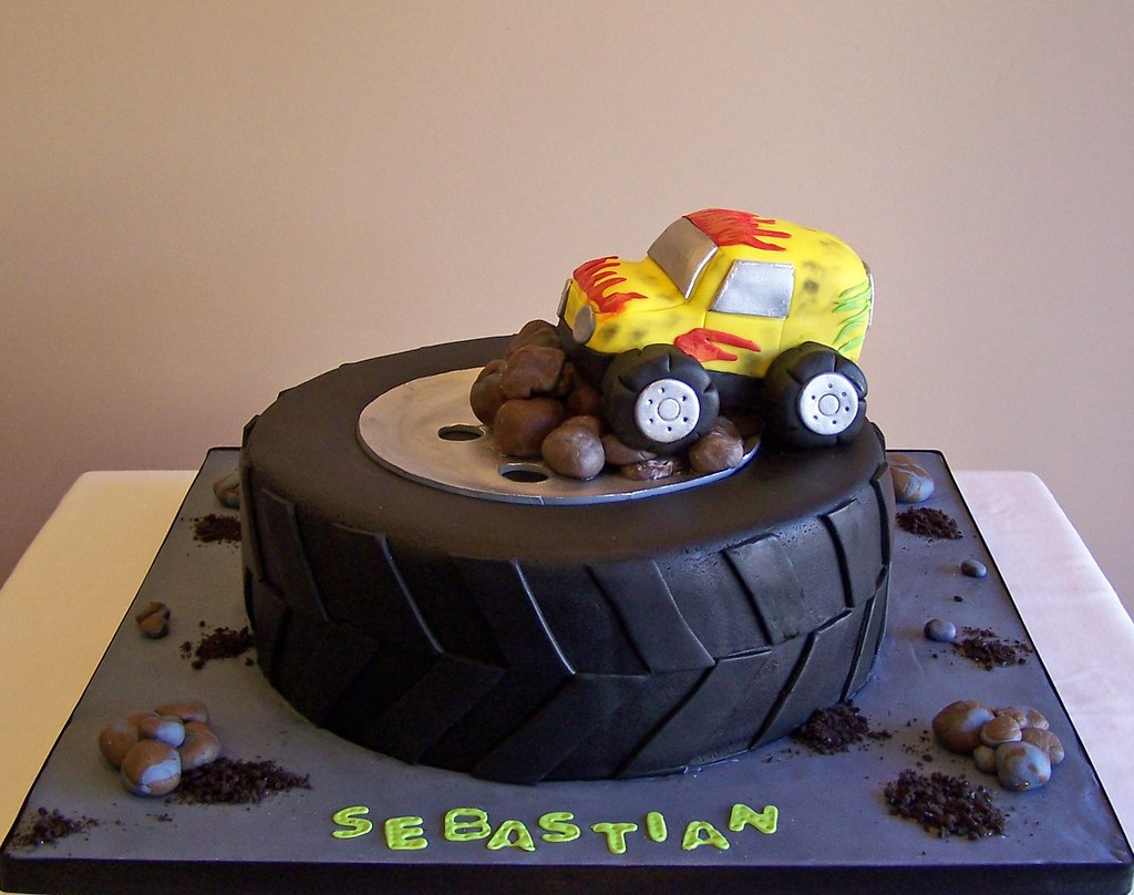Tire And Monster Truck Cake