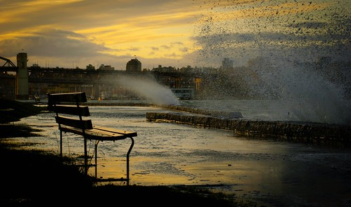 Vancouver Storm - Waves, Bench seawall | by Erich J. Harvey