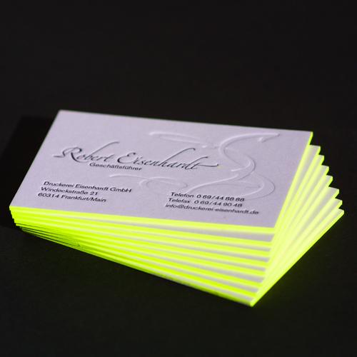Color Cut Visitenkarten Im Letterpress Verfahren Gedruckt