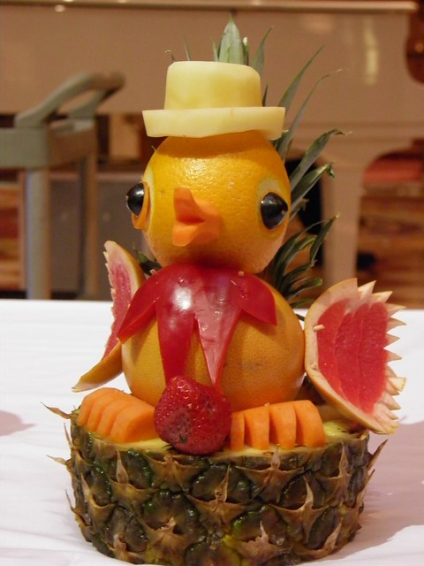 Fruit Carving Duck With A Top Hat