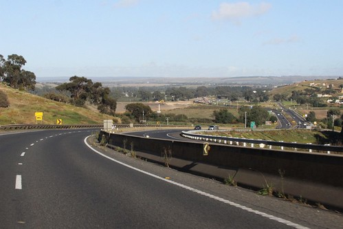 Approaching Bacchus Marsh at Anthony's Cutting on the Western Freeway