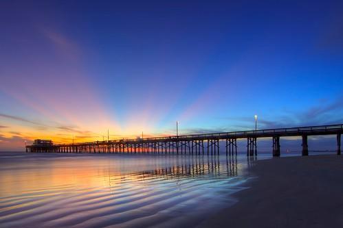 ocean california sunset sky usa cloud seascape color reflection beach water canon landscape photography pier twilight sand unitedstates perspective atmosphere wideangle newportbeach orangecounty tone ericlo ef14mmf28liiusm eos5dmarkii raysofeveningsunlight
