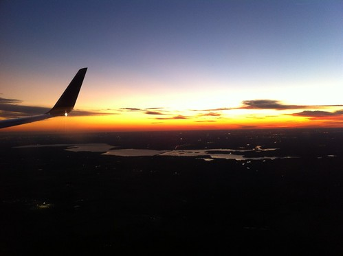 sunset lake window airplane seat houston continental 111111