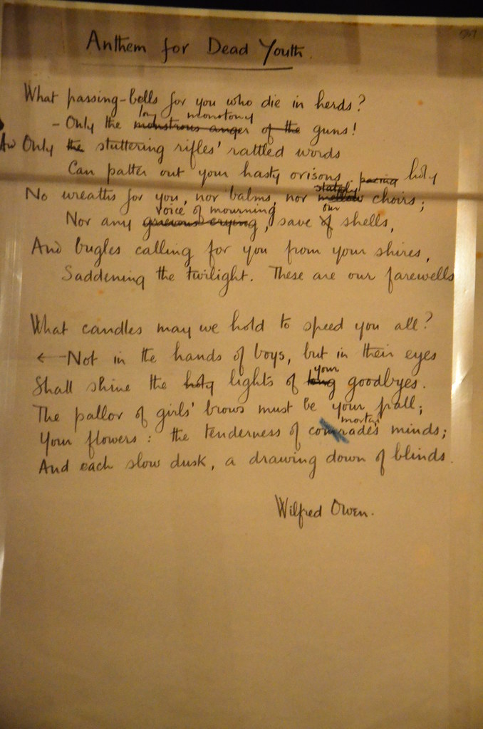 Wilfred Owens Anthem For Dead Youth Later Published As A
