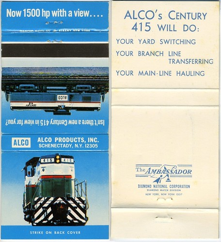 Alco Century 415 Diesel Locomotive - Matchbook | by kocojim