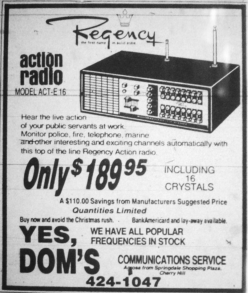 Regency Scanner Radio Ad 1975   A 16 channel Regency crystal…   Flickr