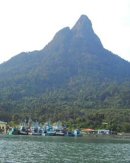 Near Kuching in Sarawak. A typical Malaysian village along the edge of the Sarawak River.