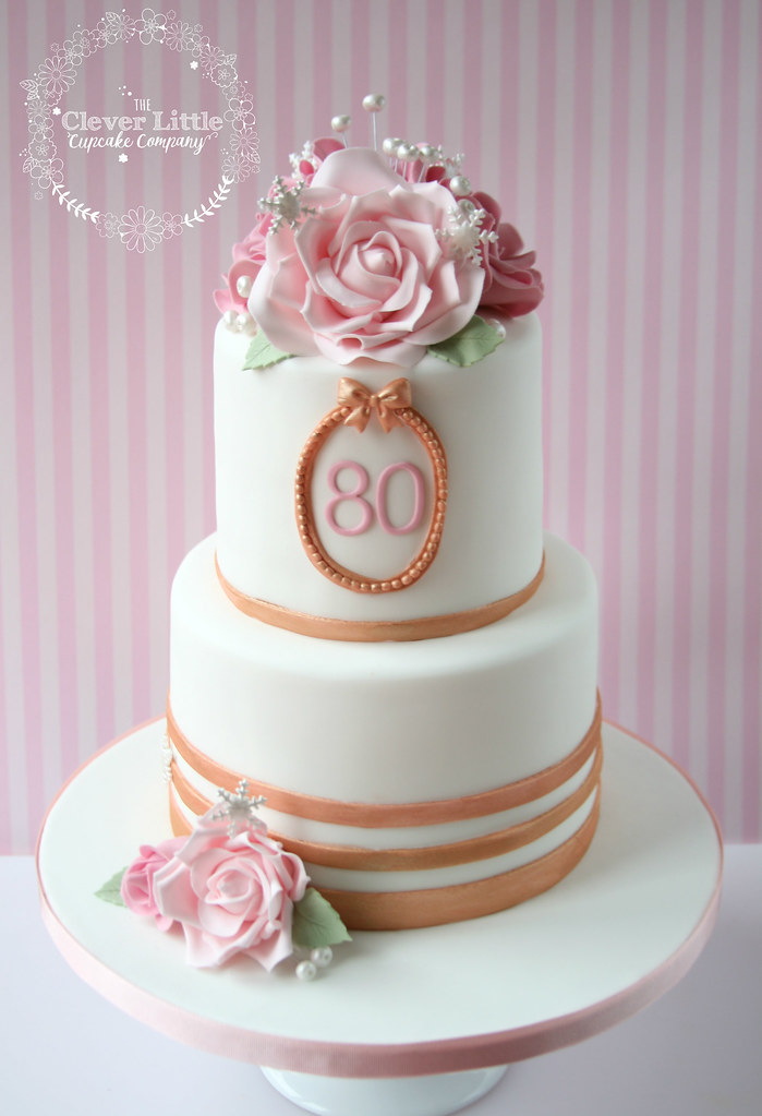 Groovy 80Th Birthday Cake With Rose Gold Accents Amanda Mumbray Flickr Birthday Cards Printable Inklcafe Filternl