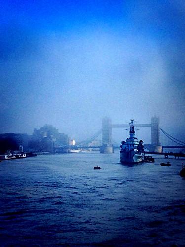 history blue towerbridge thames hmsbelfast hms london londonbridge fog mist ship