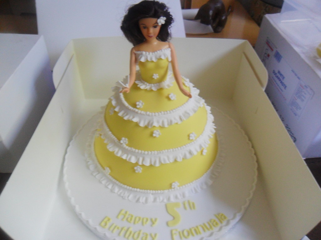 Peachy Yellow Barbie Doll Birthday Cake Elizabeth Flickr Birthday Cards Printable Opercafe Filternl