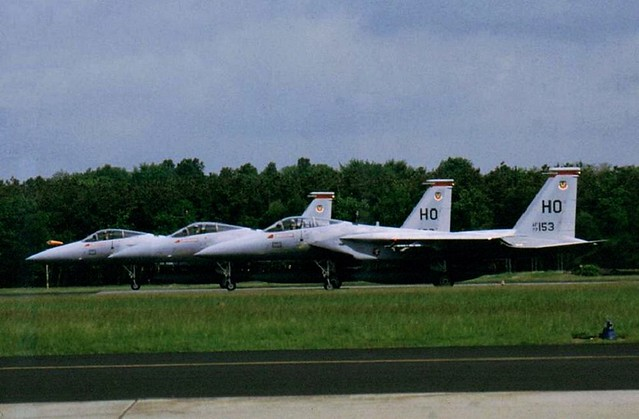 3 F-15A Eagle aircraft ready for take-off from runway-27 at Soesterberg Air Base, the Netherlands. June 1986. In front is F-15A 77-0153/ HO from the 9th TFS/ 49th TFW from Holloman AFB, New Mexico.