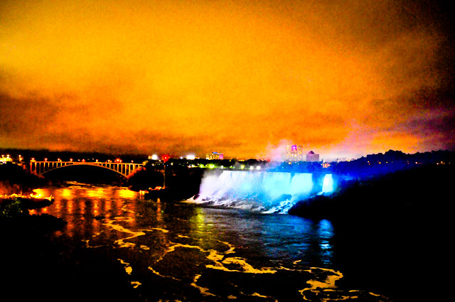 American Falls at Night from Niagara Falls Ontario Canada