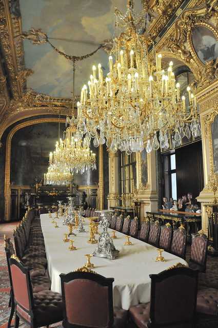 French Royal Palace Dining Room and Chandeliersat Louvre Palace Paris France