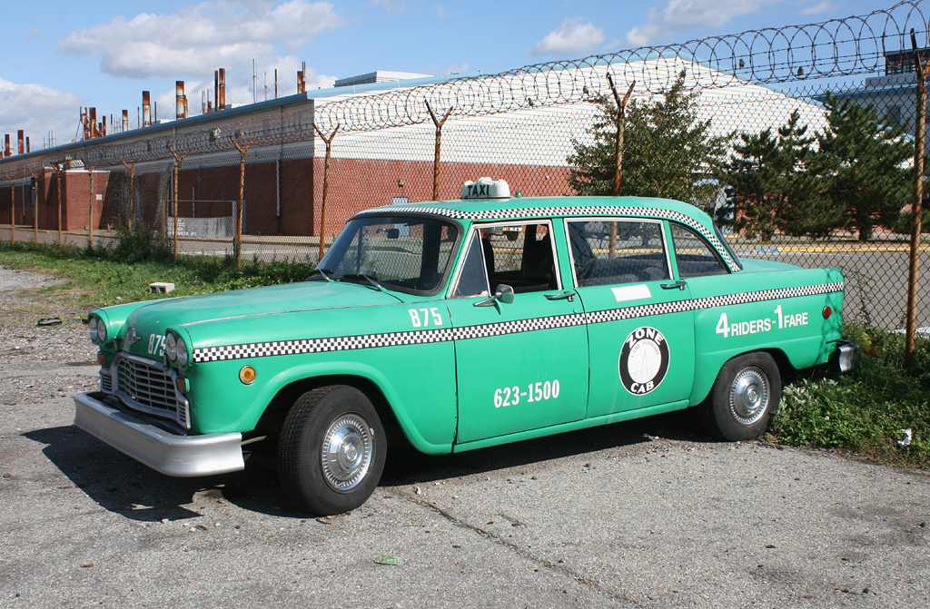 Green Checker Cab (Taxi) in Staten Island, New York, USA