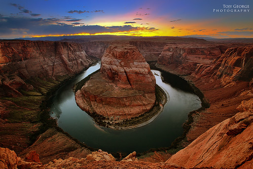 sunset arizona clouds trek river sand colorado rocks dusk page redrocks horseshoe curve horseshoebend colorphotoaward