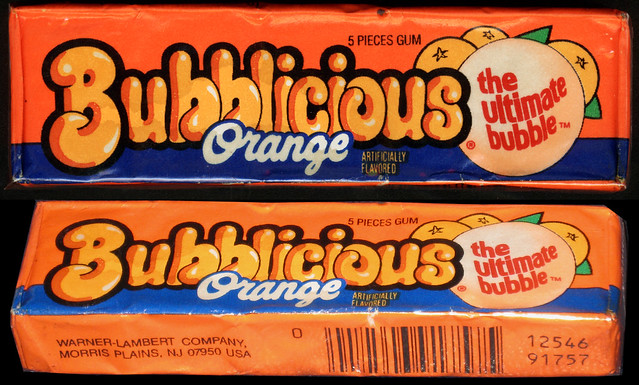 Bubblicious - Orange - bubble gum pack - late 1980's early 1990's
