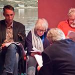Fleck rehearsal | Will Self, Liz Lochhead and Alasdair Gray in the final rehearsal for Fleck