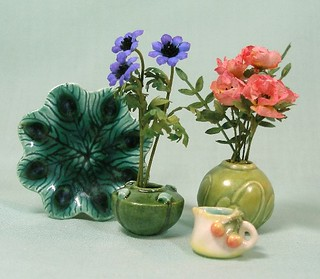 Peacock Platter, tiny pitcher, Arts and Crafts vases | by mostlyart