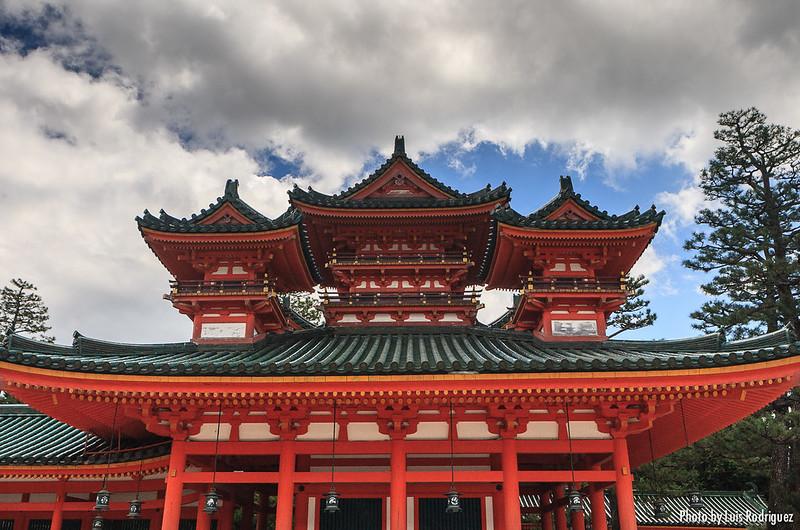 Rojos y verdes del santuario Heian