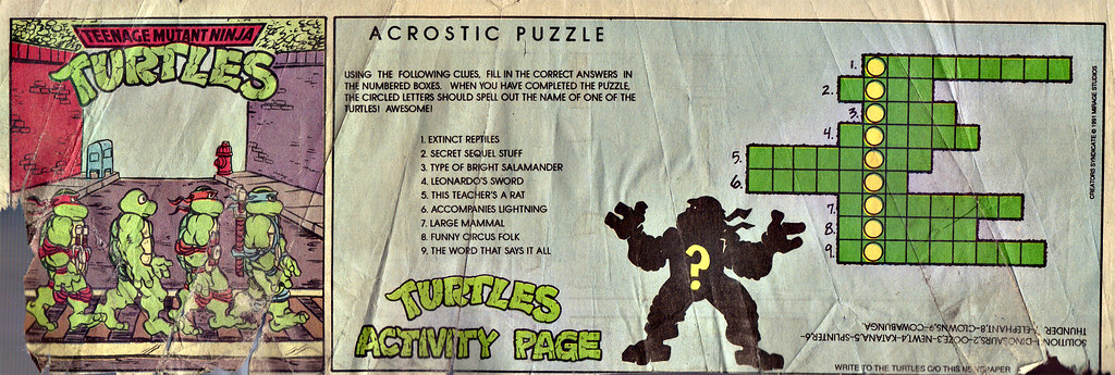 Teenage Mutant Ninja Turtles { newspaper strip } TURTLE X-ing   ..art by Lawson :: xxxx1991 by tOkKa
