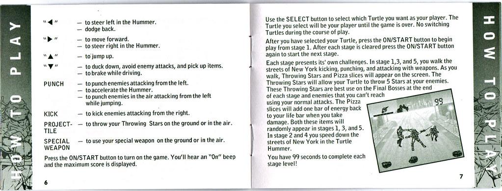 "TIGER ELECTRONICS :: ""NINJA TURTLES: THE NEXT MUTATION"" ELECTRONIC LCD GAME ..INSTRUCTION MANUAL  pgs. 6,7  (( 1998 )) by tOkKa"