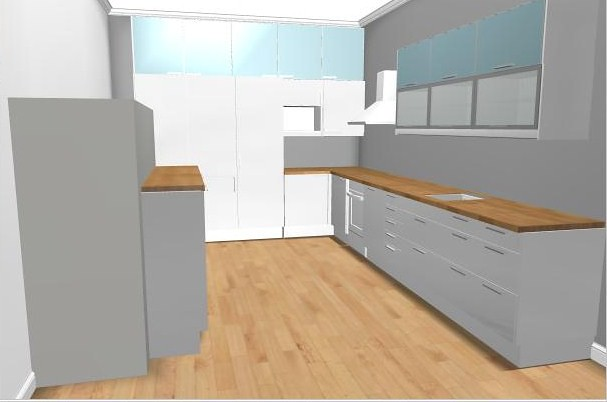 Ikea kitchen planner | Oak floor & worktops  Abstrakt white