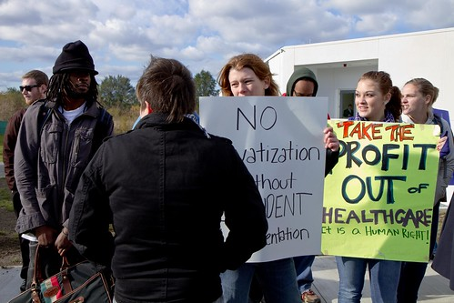 11_1_11 Occupy UMass Boston Community Protest at the Inauguration of UMass President Caret at JFK Library-07