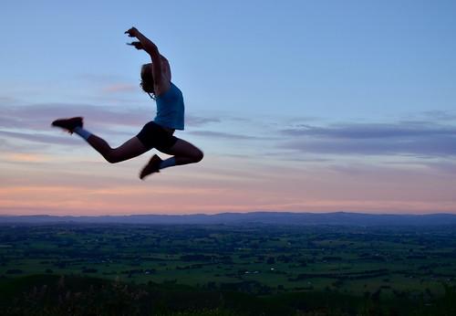 pink light sunset sky girl silhouette clouds jump jumping twilight nikon dusk australia victoria vic leap leaping seaview gippsland strzeleckiranges flickraward grandridgeroad nikonflickraward nikonflickrawardgold flickraward5 strzeleckis cloverlea ellinbank nikond5100 phunnyfotos