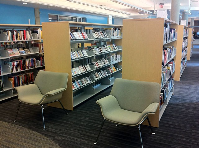 Chairs and stacks at the Terry Salman Branch