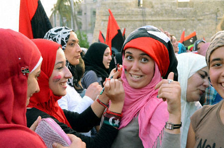 Women celebrate freedom in Tripoli