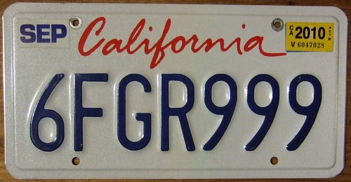 CALIFORNIA 2010 ---LICENSE PLATE, SCRIPT BASE PLATE | by woody1778a