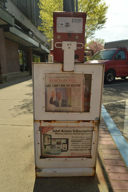 The Salem News, American daily newspaper street distribution box in Salem Town, Witch City, Massachusetts, New England, USA