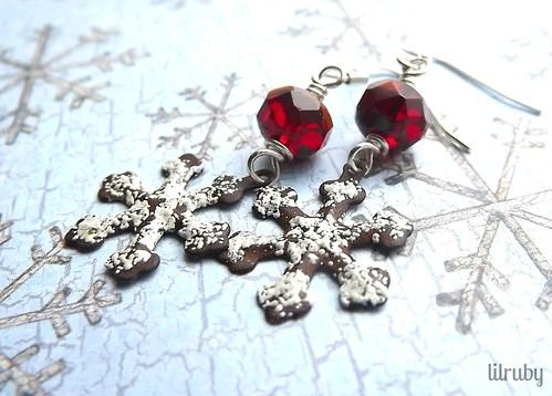 rusty snowflake earrings