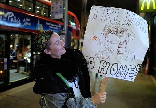 Trump go home. Anti-Trump protester on her way to London's Parliament Square. | by alisdare1