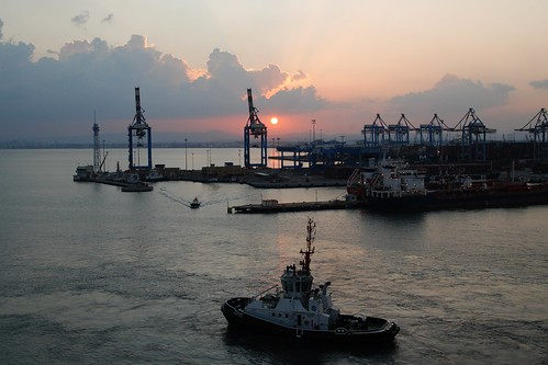 port sunrise israel cloudy tugboat haifa